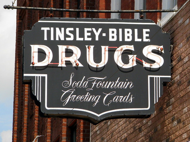 Tinsley Bible Drug Store neon sign