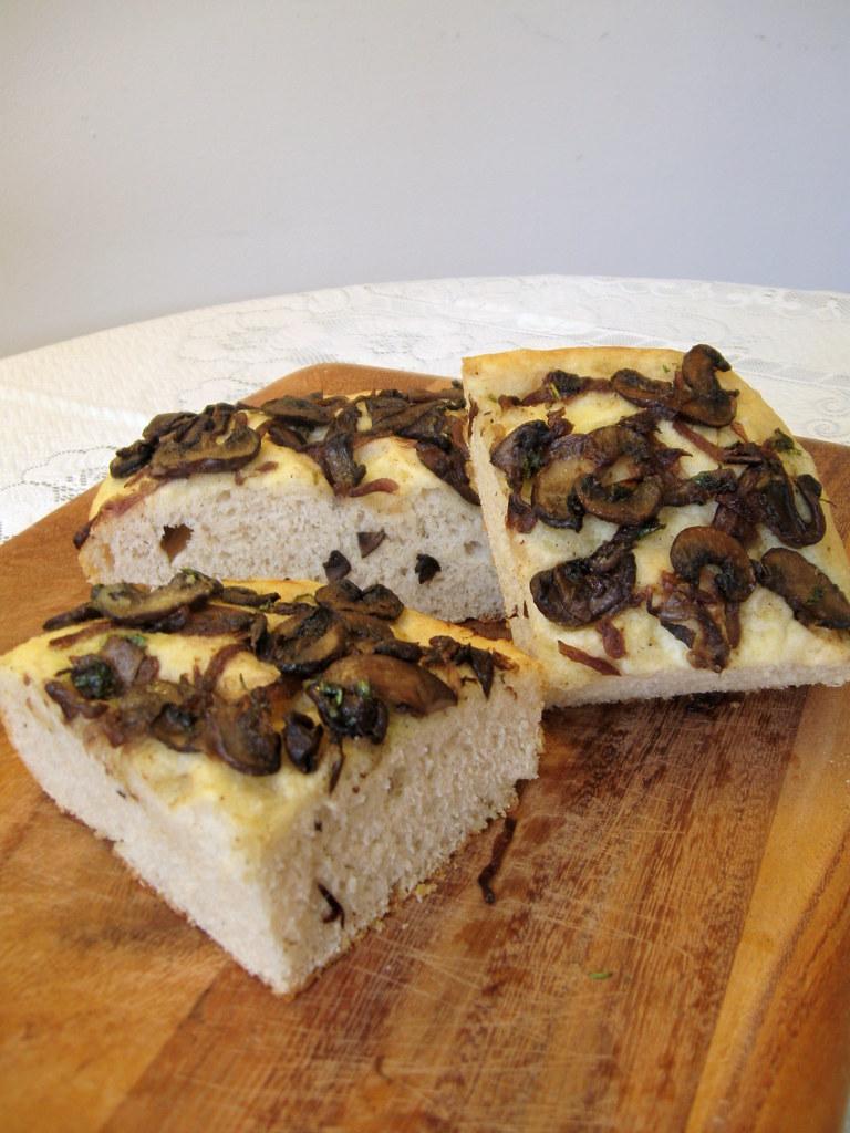 Mushroom focaccia sliced