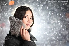 Snowstorm portrait (Konstantin Sutyagin) Tags: portrait woman white snow black girl beautiful night fur snowflakes pretty bokeh young russian removedfromstrobistpool seerule2