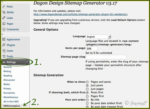 Screen shot of wordpress site admin panel: settings for the DD Sitemap generator