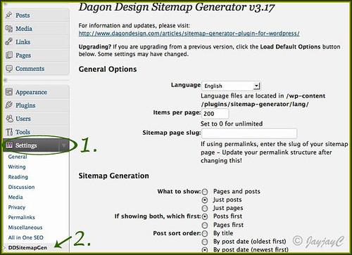 Screen shot of wordpress site admin panel: settings for the DD Sitemap generator