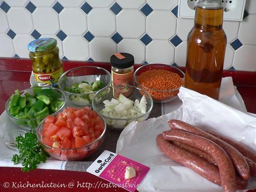 Zutaten Marokkanischer Linseneintopf mit Lammwurst