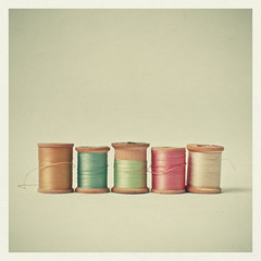 Hello Weekend! (_cassia_) Tags: pink blue brown white green thread gold wooden mint row line pistachio oyster simple reels bobbins unravelling cottonreels candypink pastelcolours lolasroom