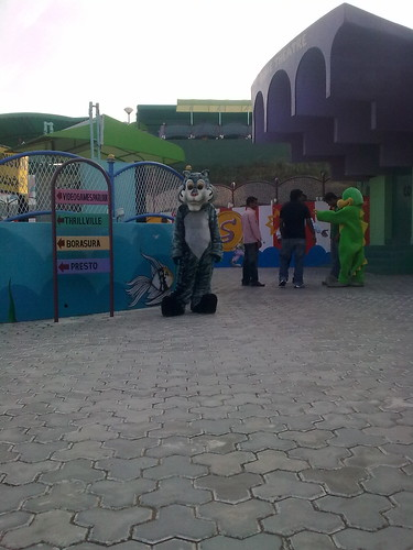 characters in front of Dome theatre  @ Ramoji film city