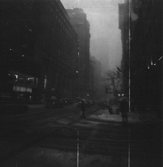 city corner (scott w. h. young) Tags: street nyc newyorkcity 120 film corner mediumformat manhattan delta midtown diana intersection dianaf 3200 ilford 38mm