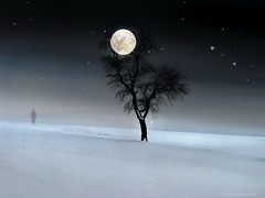 Evening (h.koppdelaney) Tags: life winter moon snow cold tree art night digital photoshop dark dawn evening solitude symbol time nacht path space fear gothic philosophy inner full desire serenity mind depression end underworld quest metaphor mystic psyche pilgrim ending symbolism psychology archetype melancholia knigin verwirrung emotionen unwissenheit unbewusstes