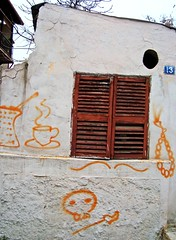 Greek spirit graffiti (V and the Bats) Tags: orange window colors graffiti coffeecup number thessaloniki 13 mustash windowpanes anopoli onawall coffepot  kompoloi     greecethroughmyeyes wallstories  thessalonikigraffiti