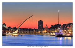 Samuel Beckett Bridge, Dublin  [Explore] (HaukeSteinberg.com) Tags: city morning bridge ireland sunset urban dublin irish inspiration reflection proud skyline architecture modern night river dark hope evening design construction traffic dusk designer good engineering selection irland exhibition best quay spire liffey explore architect civil calatrava docklands after positive quays hdr renewal floodlit santiagocalatrava dublindocklands riverliffey customshouse libertyhall designed floodlights customhouse superstructure éire samuelbeckett ulsterbank dublinspire monumentoflight tonemapped cillairne findingireland fineimage samuelbeckettbridge grahamhollandiajointventure doctorsantiagocalatrava drsantiagocalatrava drsantiago mvcillairne brickalleycafe irlgallery noshington titlerotate
