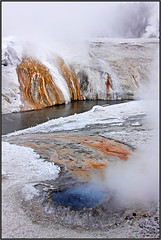 Colors of Yellowstone (Sandra OTR) Tags: park blue winter snow ice pool landscape fire spring steam national yellowstone geyser