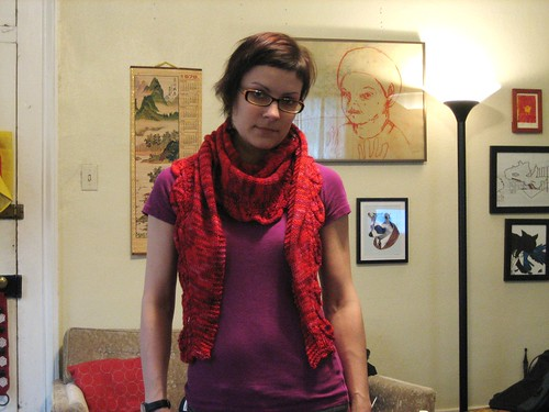 100311. saroyan scarf, made with malabrigo worsted in amoroso.