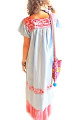 Sky Blue Mexican long vintage embroidered dress (Aida Coronado Galeria) Tags: travel wedding beach mexico surf dress embroidery unique ooak traditional style resort clothes mexican exotic oaxaca ethnic puebla bohemia rare mexicano bohemian vestido bordado mexicandress mexicanculture hippiedress vestidomexicano aidacoronado resortclothing