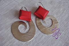 shell 208 (ilariabaccelli.design) Tags: red vintage silver square earrings argento bottoni orecchini