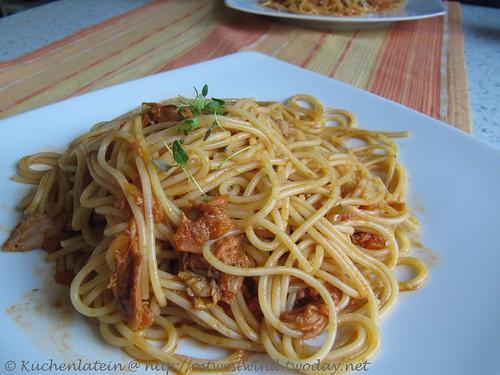 Spaghetti mit Hähnchen-Ragù aus dem Crockpot