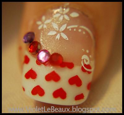 heart nail painting nail  art design