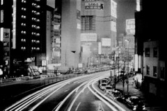 leave the city and come home (Jersey Yen) Tags: film skybridge handheld nippon nikonfm2 2010 nightwalk nishishinjuku nikkorf1450mm grainyyyyy