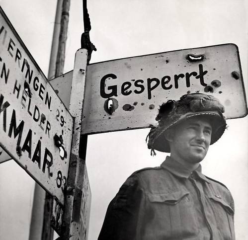 Liberator near German signpost