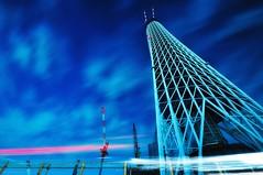 My Sky Tree (hidesax) Tags: longexposure blue night clouds nikon nightshot nonhdr starsinthesky d5000 tokyoskytree singleexposureraw hidesax tamronspaf1024mmf3545diii nikond5000 myskytree reached338mnow tokyoskytree338mtokyotower333m