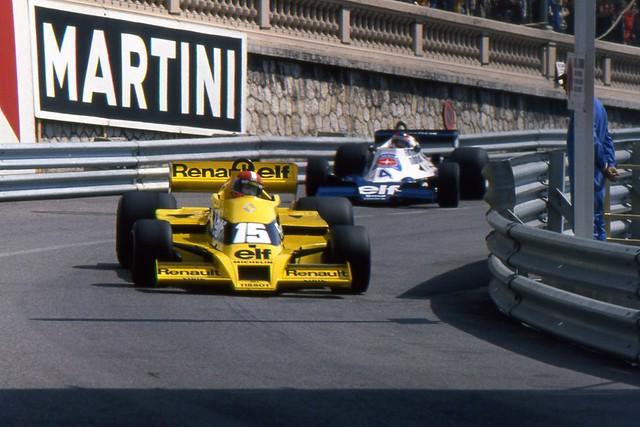 1978 GP Monaco - Jabouille (Renault Elf RS01) en Depailler (Elf Tyrrel 008)