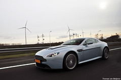 Aston Martin V12 Vantage Mako Blue (Thomas van Meijeren) Tags: morning blue red white black netherlands windmill beauty dutch yellow early highway power photoshoot shot martin interior nederland windmills ferrari soul enzo bugatti infra 60 tracking vr aston astonmartin maasvlakte liter litre dbs veyron mako v12 d90 nikond90 v12vantage