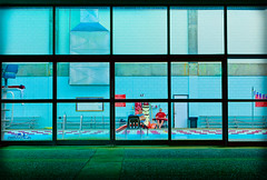 Pools For Fools (Kyle Kress) Tags: blue school window pool night grid university pattern indiana lifeguard line southern nighttime lane range hdr voyer evansville sterile voyerism usi highdynamic