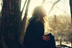 Whispers (Jessica Neuwerth (Fearless)) Tags: autumn trees winter light portrait sun selfportrait snow cold tree fall girl sunshine forest self reflections hair shine bright snowy redhead jacket curly blazer shining wintery