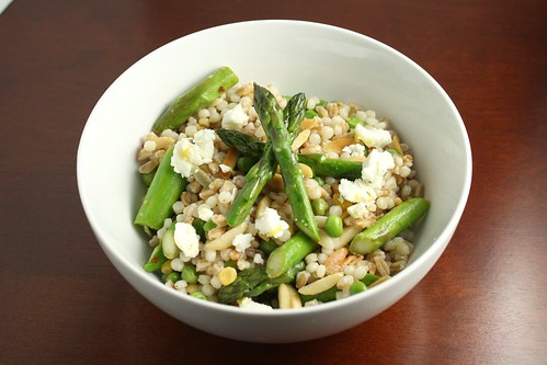 Lemon Scented Grain Salad with Asparagus, Almonds, and Feta