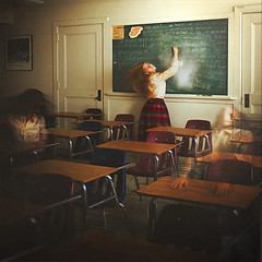 a school for girls (brookeshaden) Tags: school girls chalk trapped classroom board backwards uniforms desks oliviaclemens brookeshaden texturebylesbrumes