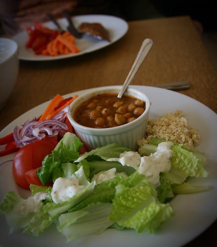 Channa masala with salad and cucumber raita
