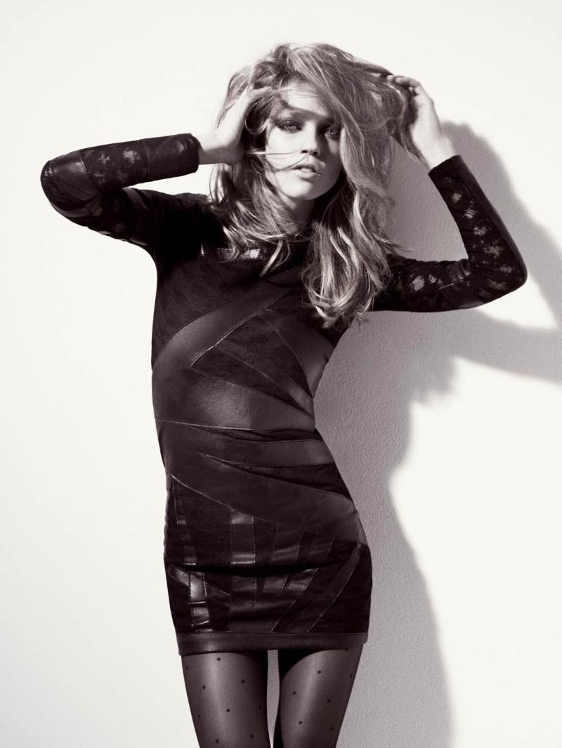 Inspiration leather patch dress