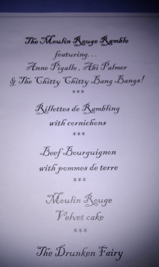 Moulin Rouge Rambling Restaurant menu