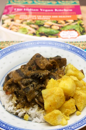 creamy mushroom curry + curried potatoes