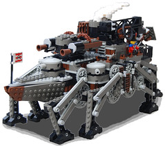 Sleipnir-Class Medium Steam Octo-Pedalship Mk. XLVII (Vulcan Variant)(bow) (aillery) Tags: war lego military great steam walker vulcan machines steampunk variant