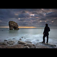 Standing | Whitburn (Reed Ingram Weir) Tags: portrait seascape man me silhouette clouds standing self sunrise photography volcano landscapes still rocks long exposure arches lee coastline filters seastack whitburn 10stop bigstopper reedingramweir 075h familygetty2010