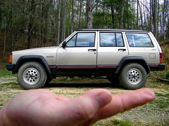 Ha-Ha (NC Mountain Man) Tags: jeep cherokee woods trees tires 4x4 hand carolina ncmountainman 1993 xjjeep offroad kodak z1015 is illusion toy phixe xj sport perspective dof lowresolutionversion