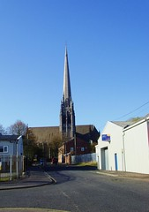 St Walburge's Church in Preston (Tony Worrall Foto) Tags: road street uk blue england sky urban tower church buildings outside catholic view northwest god scenic lancashire steeple clear made holy april preston tall ashton build northern built feature archiecture stwalburgeschurch