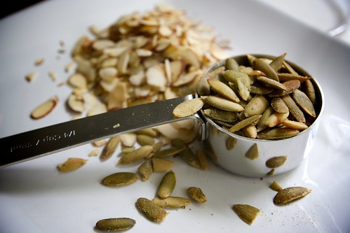 start with pepitas and almonds