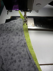 Always sew with the bias strip on top.