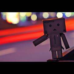 113365 (VarUni7) Tags: street night toy lights dof bokeh figure hitchhiker 365 2010 danbo revoltech 365project danboard 23042010 04232010 113365