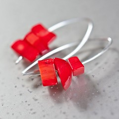 Earrings Sterling Silver Red Coral (daimblond) Tags: red france coral modern rouge design handmade jewelry minimal metalwork bo earrings simple argent 925 sterlingsilver corail