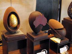 Chocolate eggs 2 (Roving I) Tags: sculpture art sydney australia fourseasons displays hotels chocolateeggs goldeneggs