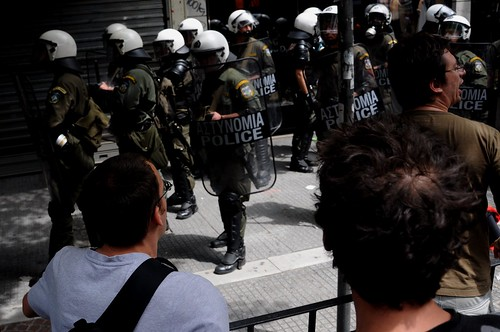 Greek riot police try to split protest march in two - Thessaloniki, Greece