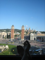 a room with THE view + feet (Ladybadtiming) Tags: barcelona sky cars feet window weather hotel view traffic towers sunny leisure bliss serie montjuc espagna catalunia plaadeespanya