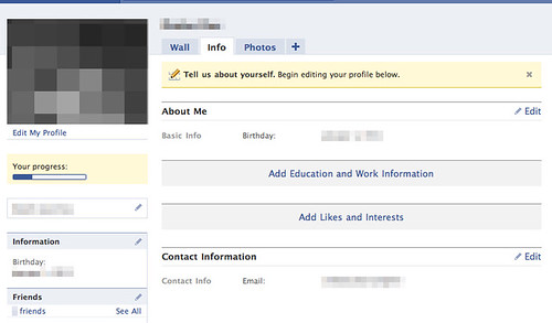 Facebook nagging new users to enter profile information
