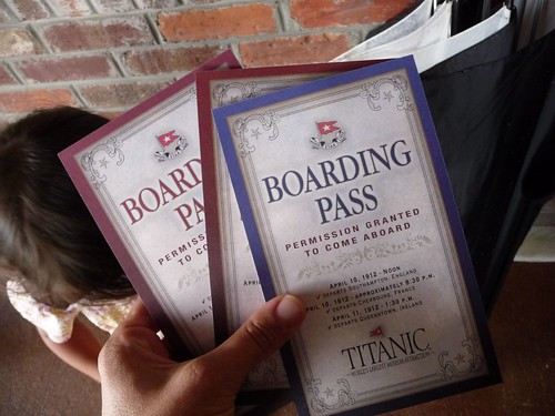 boarding pass for titanic tour.