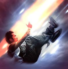 Junkyardkid Strikes! (junkyardkid) Tags: light portrait selfportrait clouds fight action beam falling converse raygun torresclaren