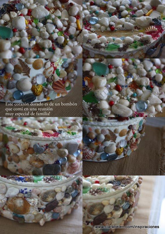 Ideas e inspiraciones para decorar marcos y cajas con piedras, semillas, conchas de la playa...