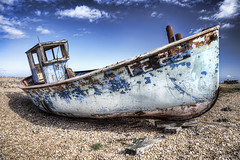FE25 Wreck (ShrubMonkey (Julian Heritage)) Tags: sky abandoned beach boat decay dungeness wreck fishingboat hdr wwb wwh greatphotographers photographyrocks flickraward fe25