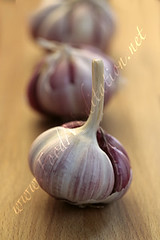Veg - Garlic: Whole Red Garlic Bulbs on Wooden...