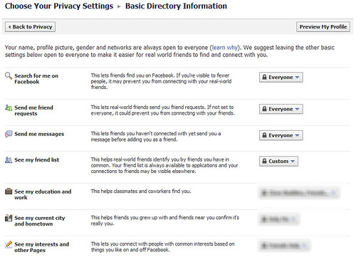 Customize Facebook directory information