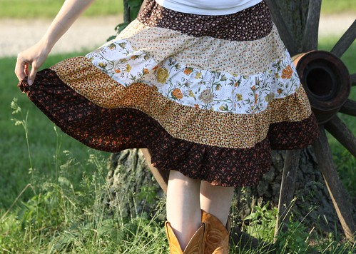 gypsy boho hippie tiered skirt